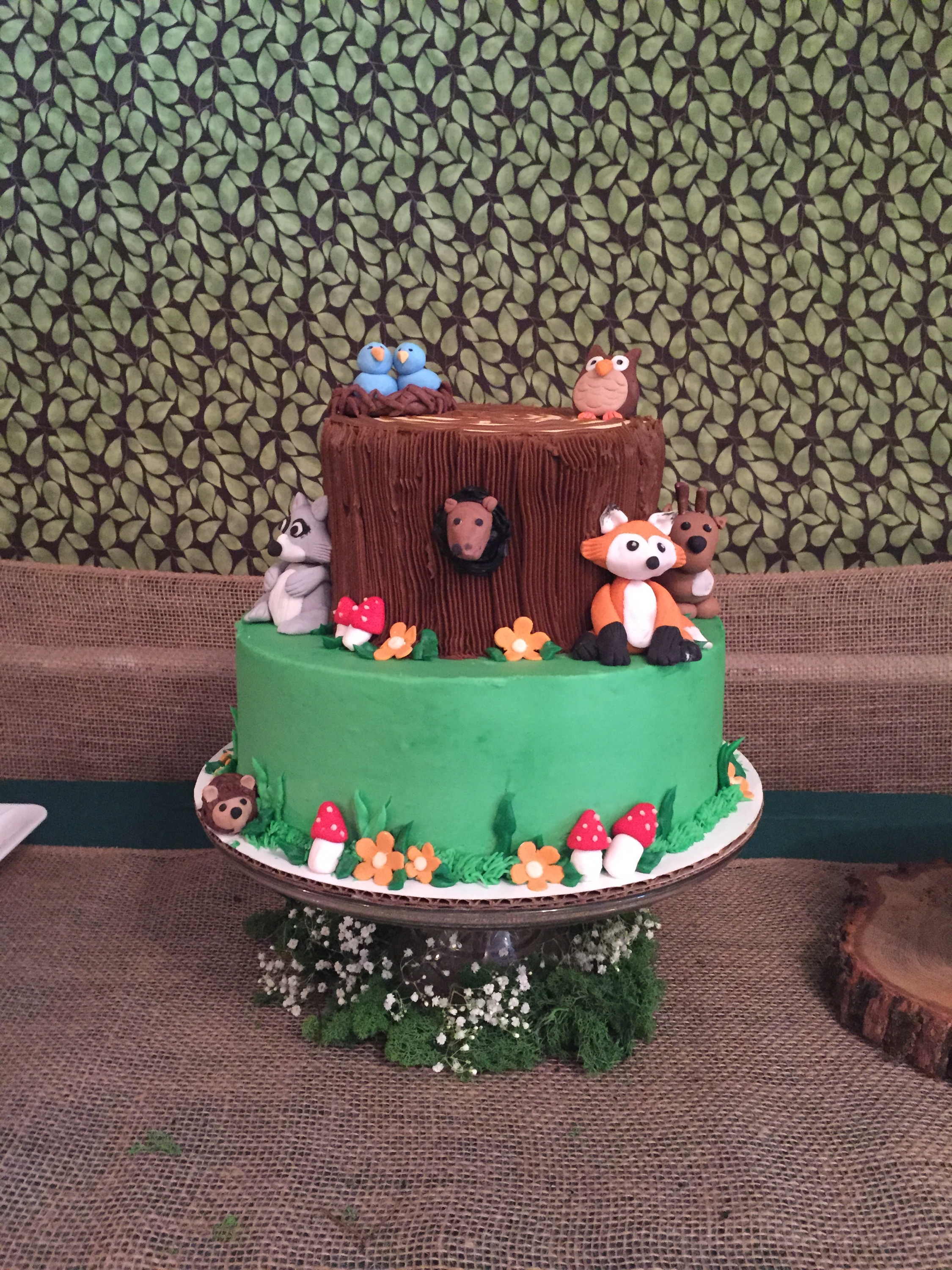 forest themed baby shower cake