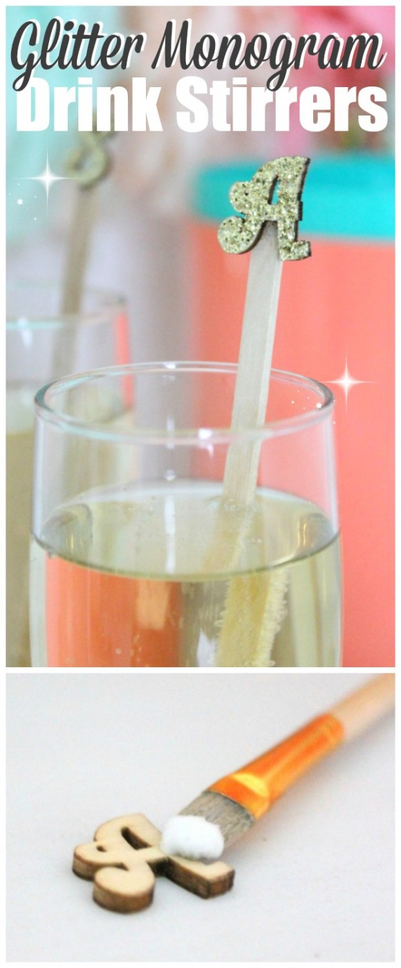 glitter monogram drink stirrer