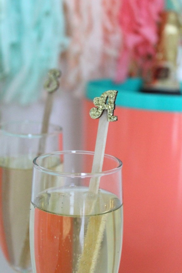 diy glitter monogram drink stirrers