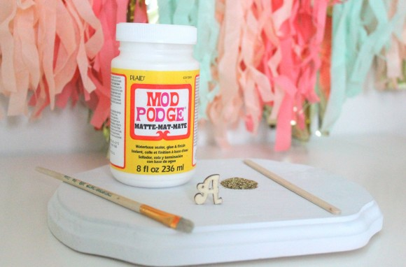 diy glitter monogram drink stirrer