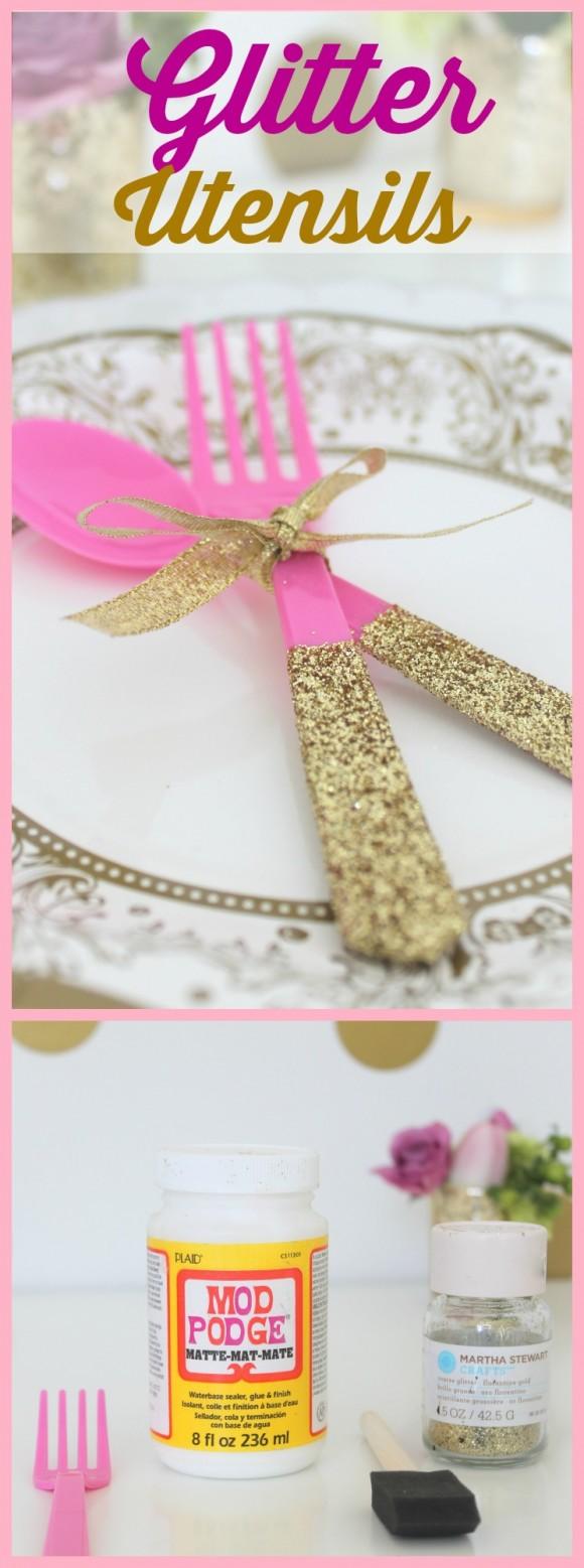 diy glitter utensils tutorial
