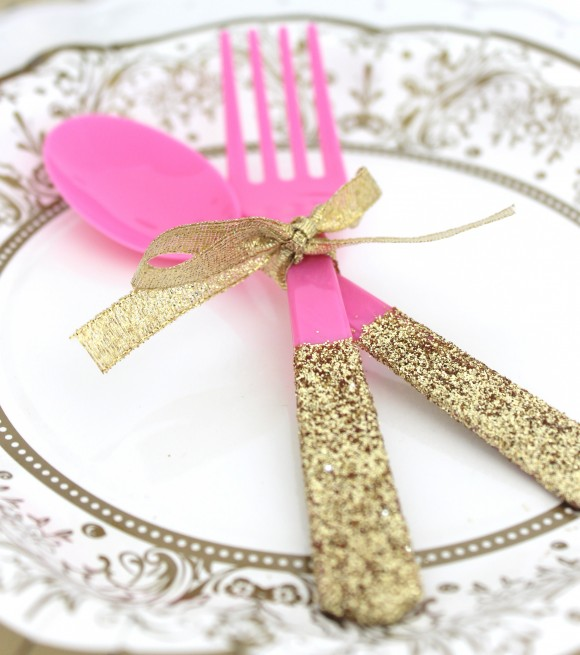 diy glitter party utensils