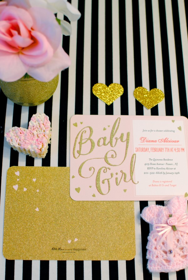 sparkling pink and gold baby shower invitations