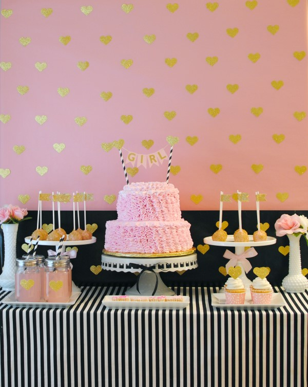 sparkling pink and gold baby shower dessert buffet