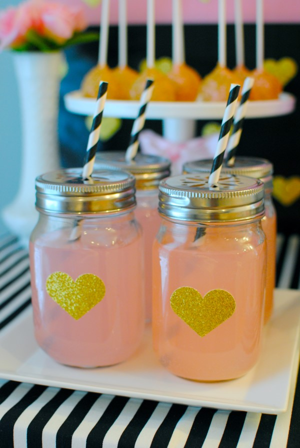sparkling pink and gold baby shower mason jar drink idea