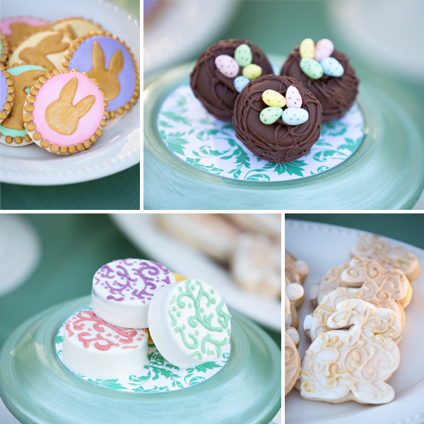 pastel spring and easter party desserts