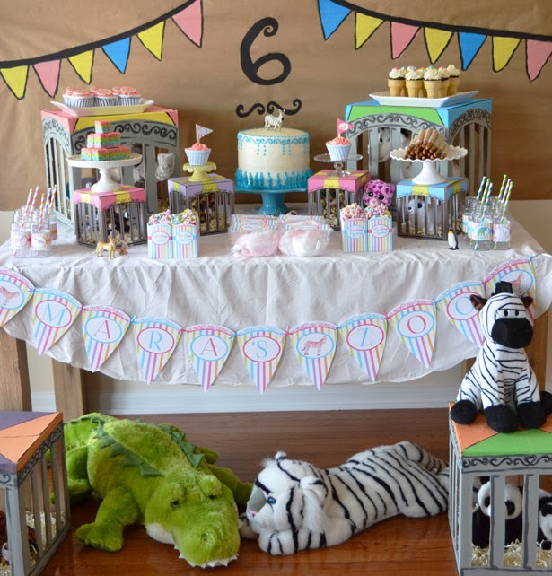 rainbow zoo party dessert table
