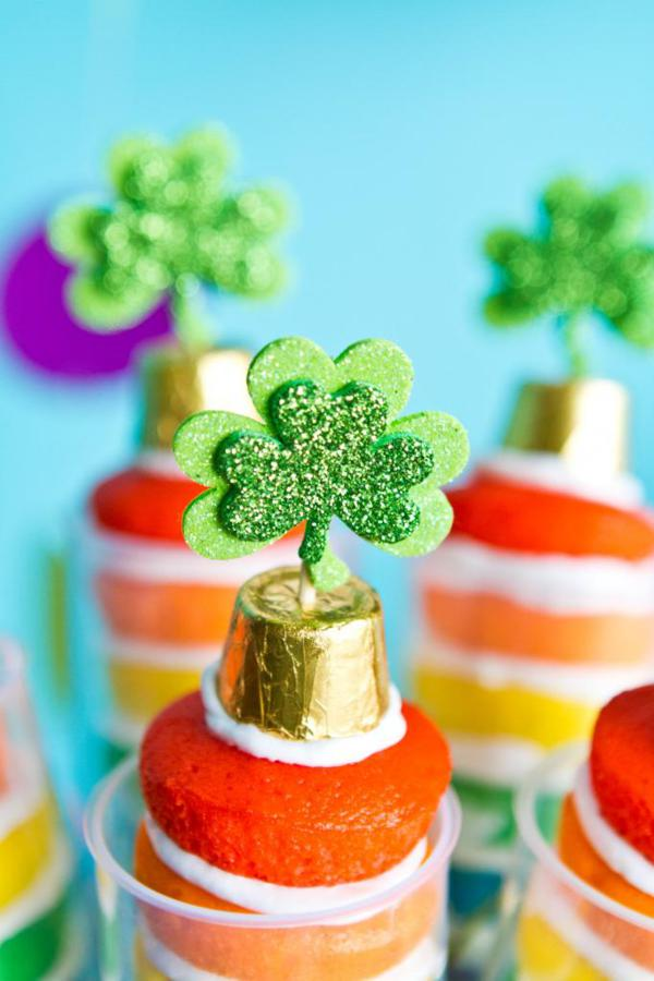 st patricks day rainbow cake push pops