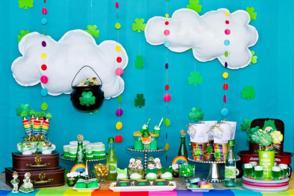 st patricks day rainbow and cloud party backdrop