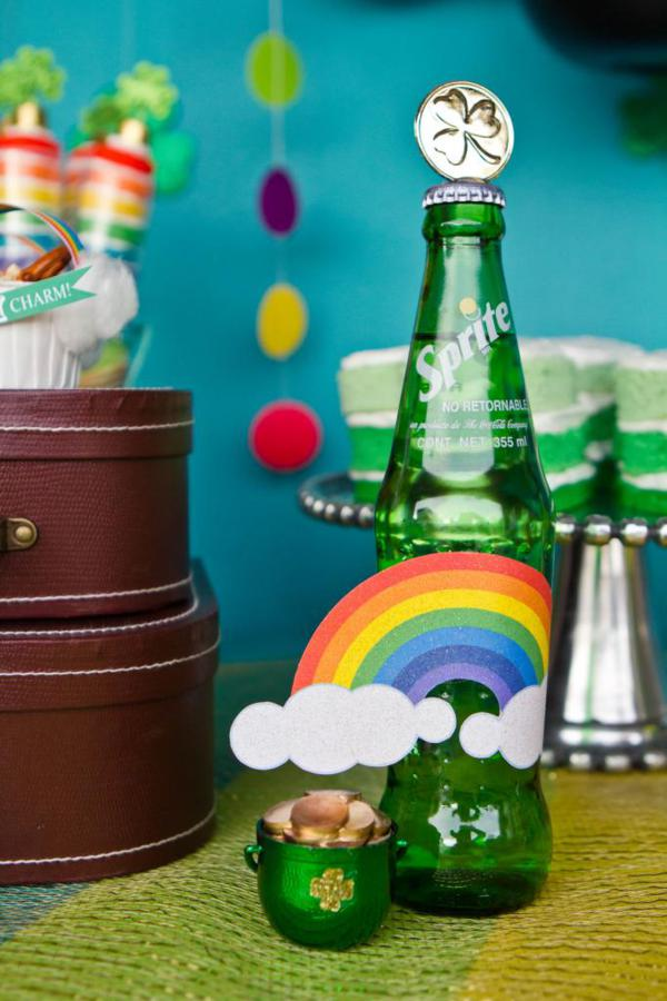 st patricks day themed soda with rainbows