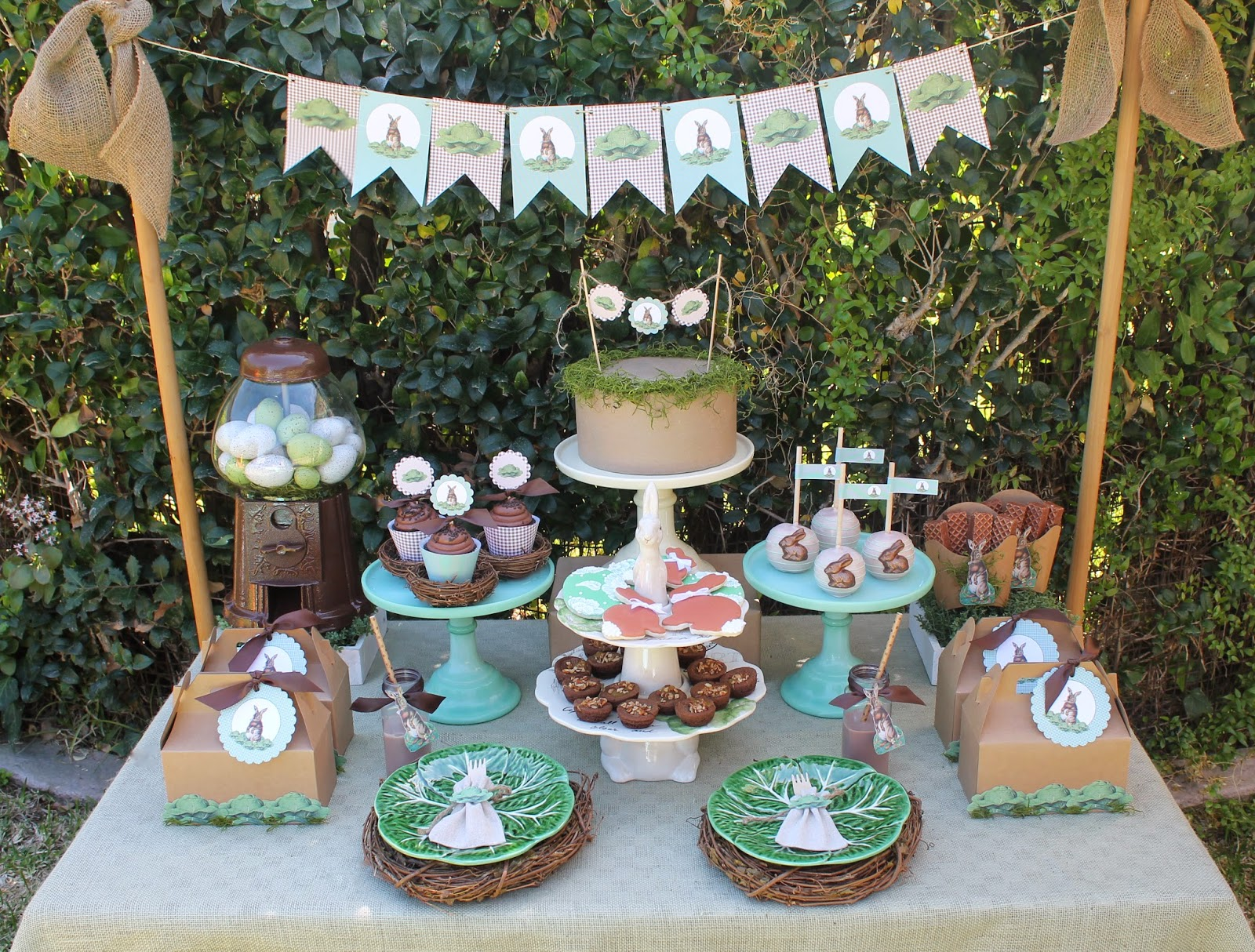 vintage easter party dessert table