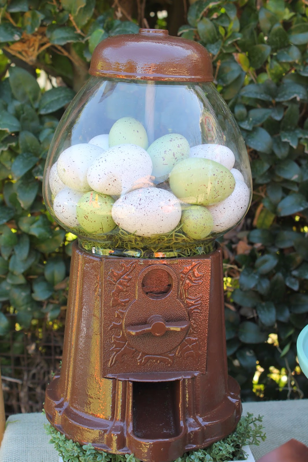 vintage easter party gumball machine with speckled eggs