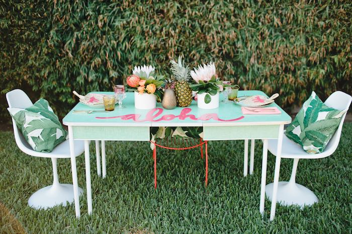 Aloha Luau Bridal Shower Dining Table