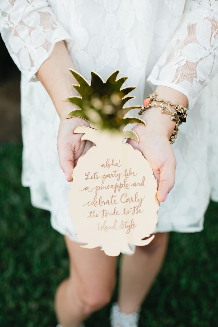 Aloha Luau Bridal Shower Pineapple Invitation