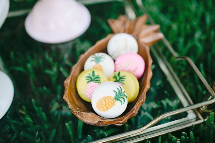 Aloha Luau Bridal Shower Pineapple Macarons