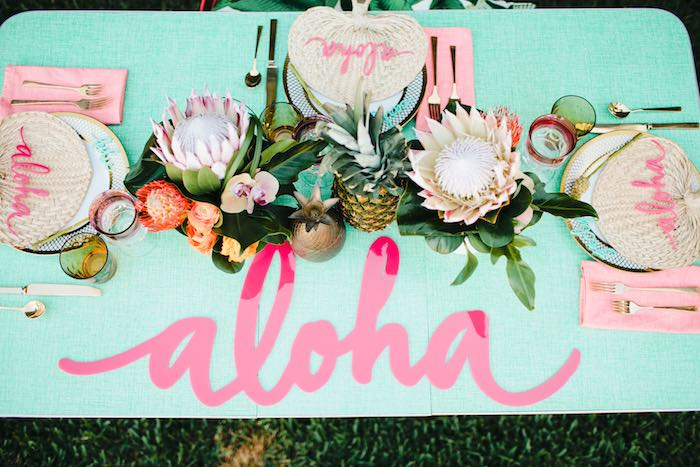 Aloha Luau Bridal Shower Tablescape