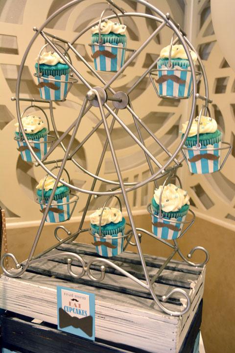 Mustache 1st Birthday Party Cupcake Ferris Wheel
