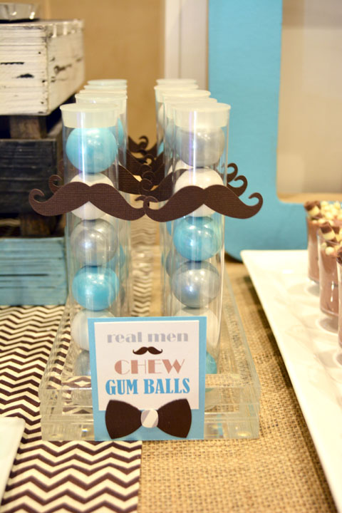 Mustache 1st Birthday Party Gumballs