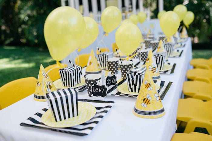 Bumble Bee Birthday Party Place Settings