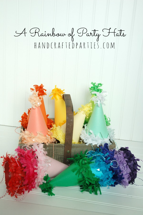DIY-rainbow-of-party-hats_tutorial-at-Handcrafted-Parties