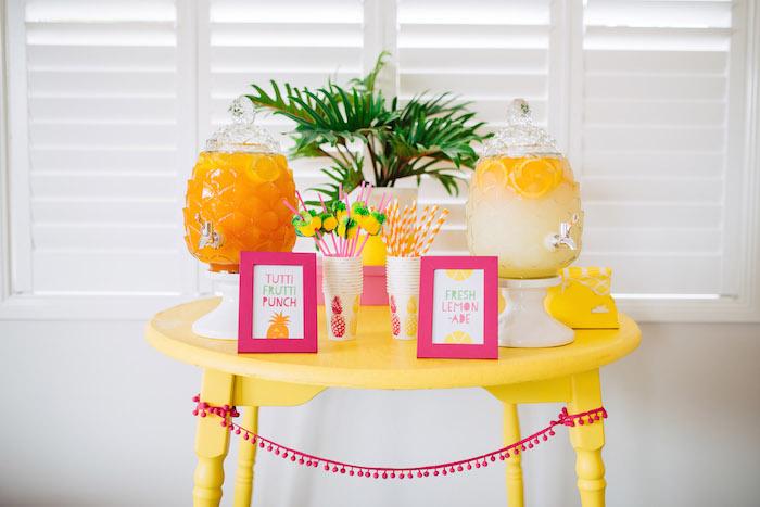 Tutti Frutti Birthday Party Beverage Table