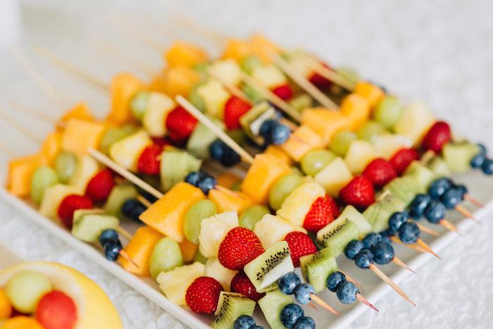 Tutti Frutti Birthday Party Fruit kabobs