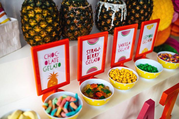 Tutti Frutti Birthday Party Gelato Toppings