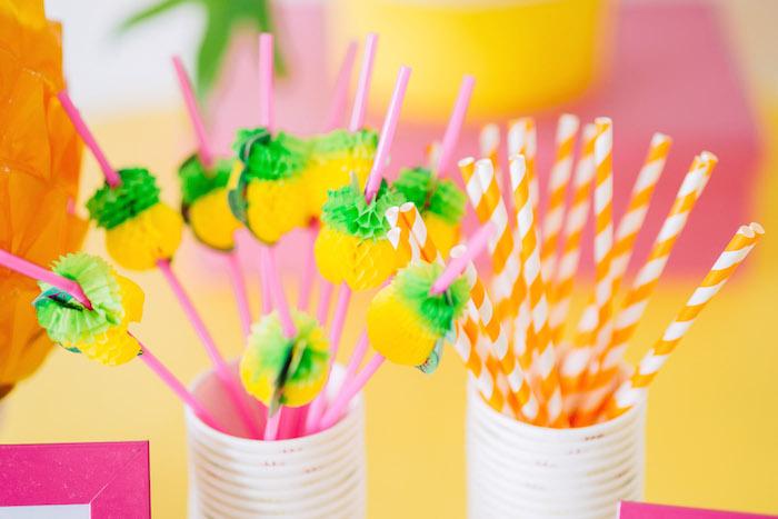 Tutti Frutti Birthday Party Pineapple Straws