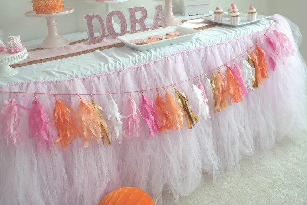 Glam And Girly Dora Party Table Skirt Tassels