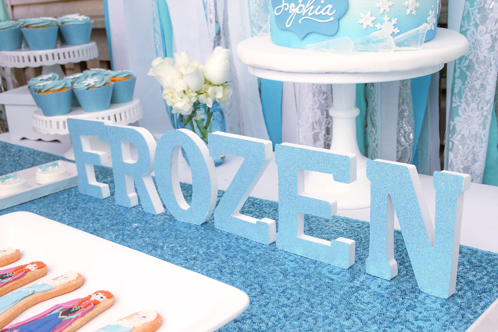 sweetly chic events & design frozen party Frozen Glittered Centerpiece