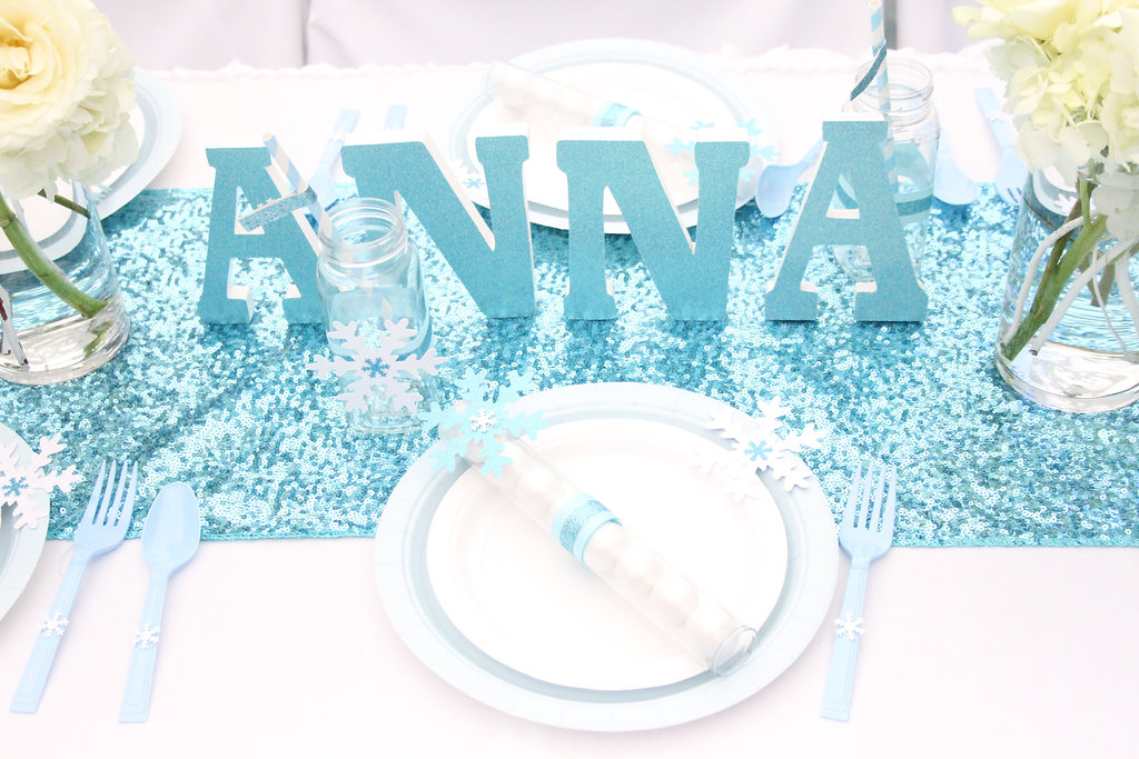 sweetly chic events & design frozen party custom anna glittered centerpiece