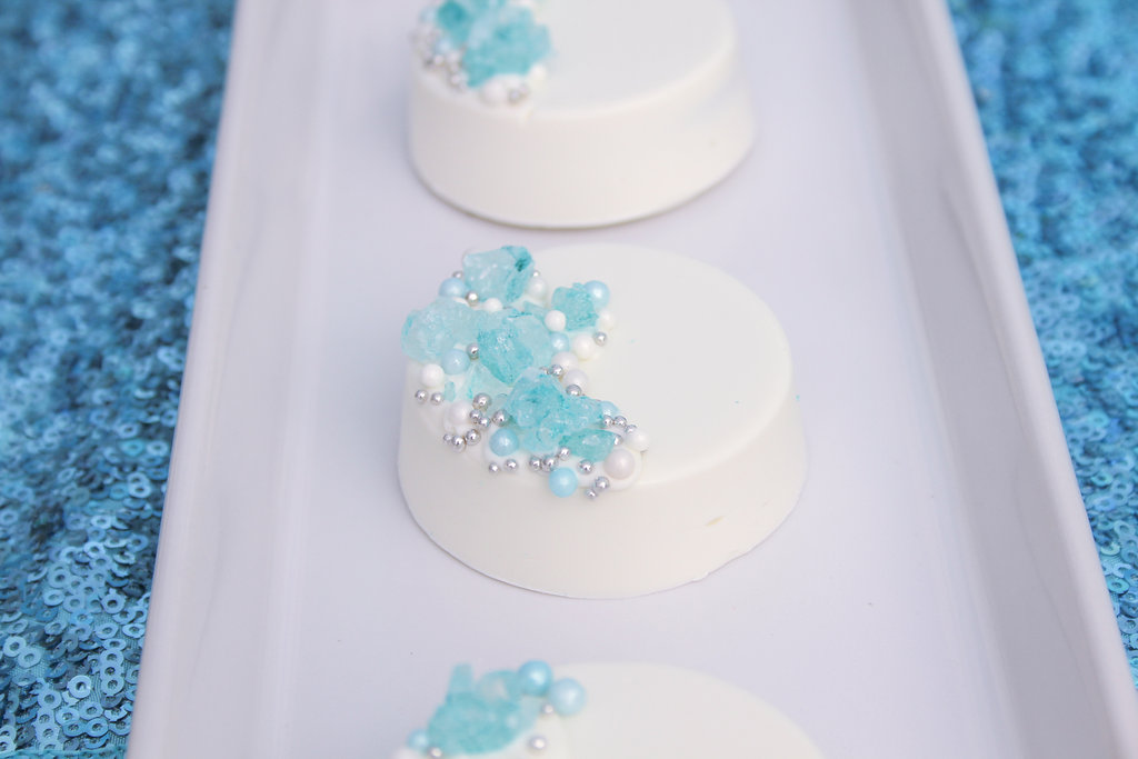 sweetly chic events & design frozen party white chocolate covered frozen oreos