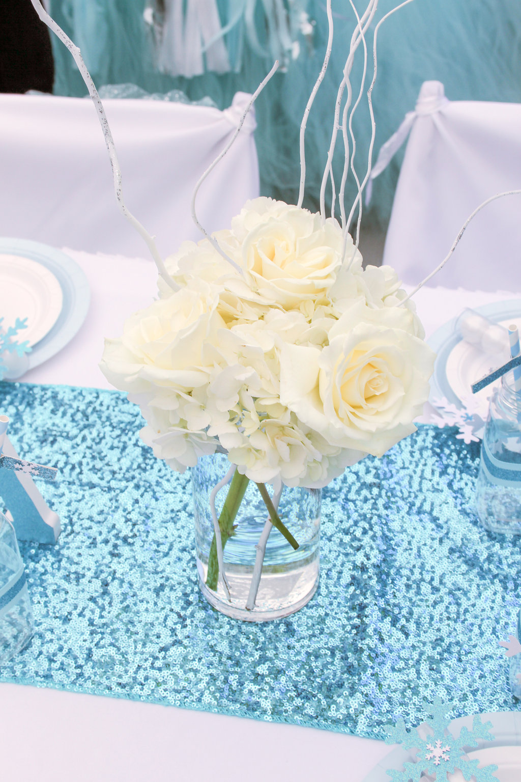sweetly chic events & design frozen party floral centerpieces