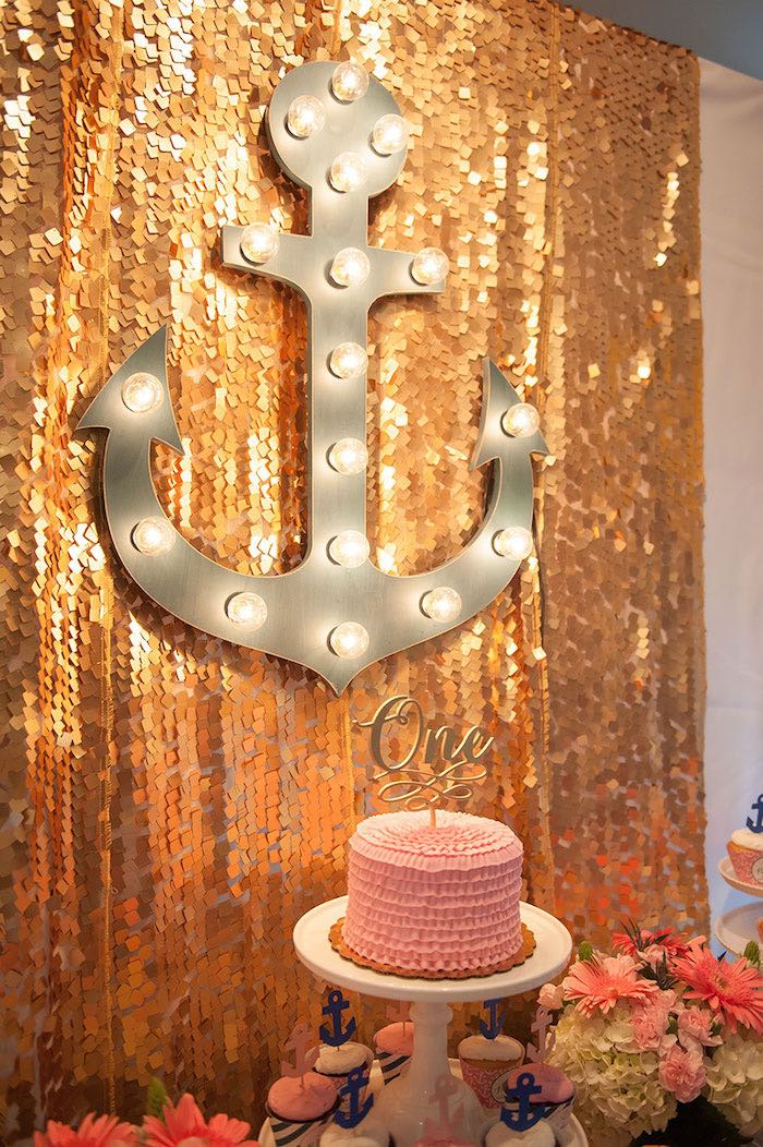 Girly Nautical First Birthday Party Cake and Anchor Marquee