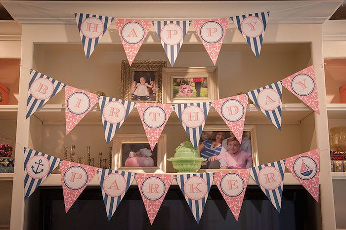 Girly Nautical First Birthday Party Banner