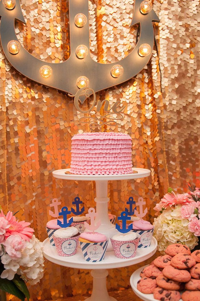 Girly Nautical First Birthday Party Cake