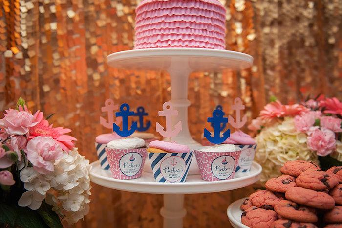 Girly Nautical First Birthday Party Cupcakes