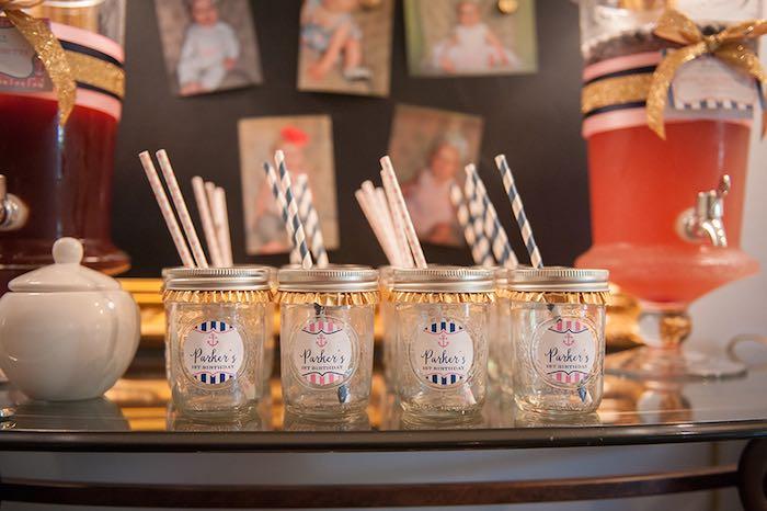 Girly Nautical First Birthday Party Mason Jar Drinks