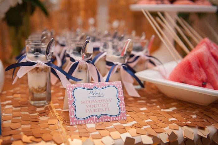 Girly Nautical First Birthday Party Parfaits