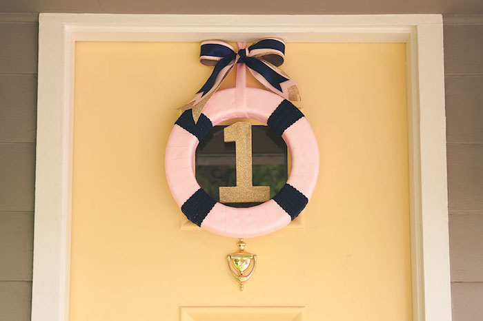 Girly Nautical First Birthday Party Welcome Sign