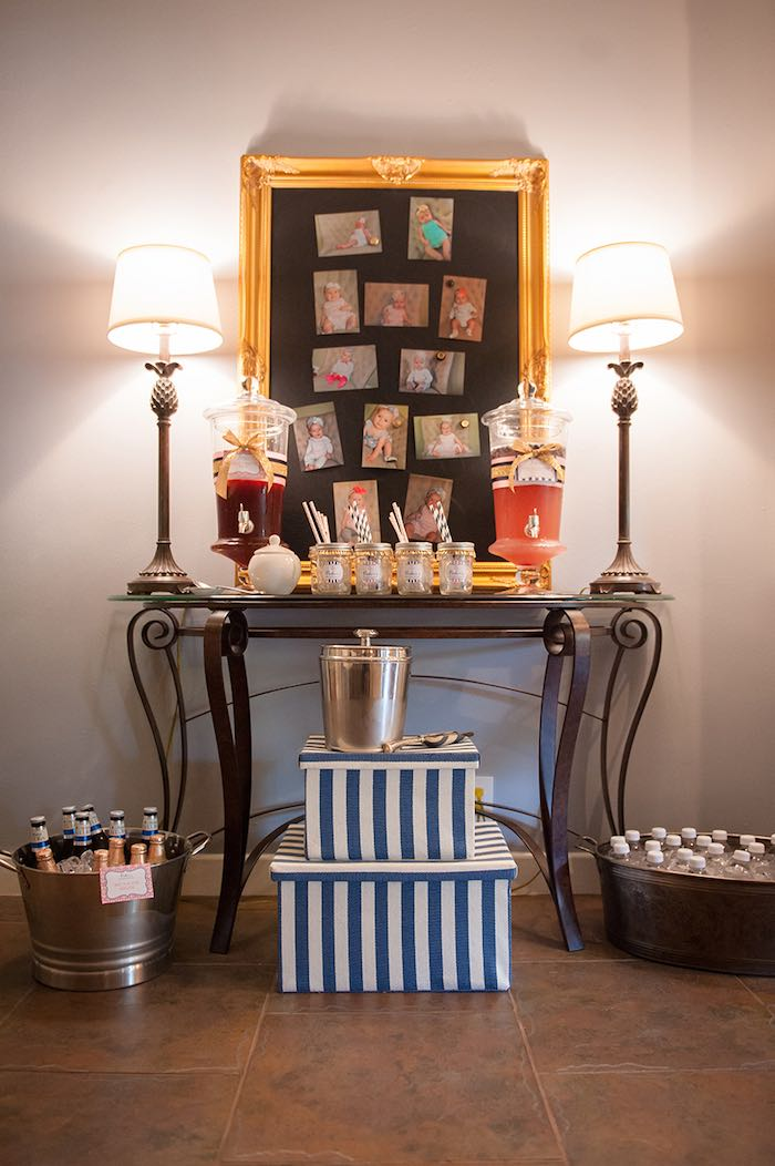 Girly Nautical First Birthday Party Drink Station