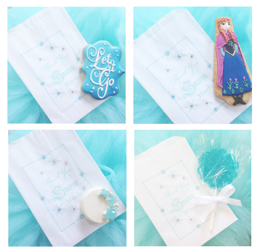 sweetly chic events and design frozen party favor bags and cookies