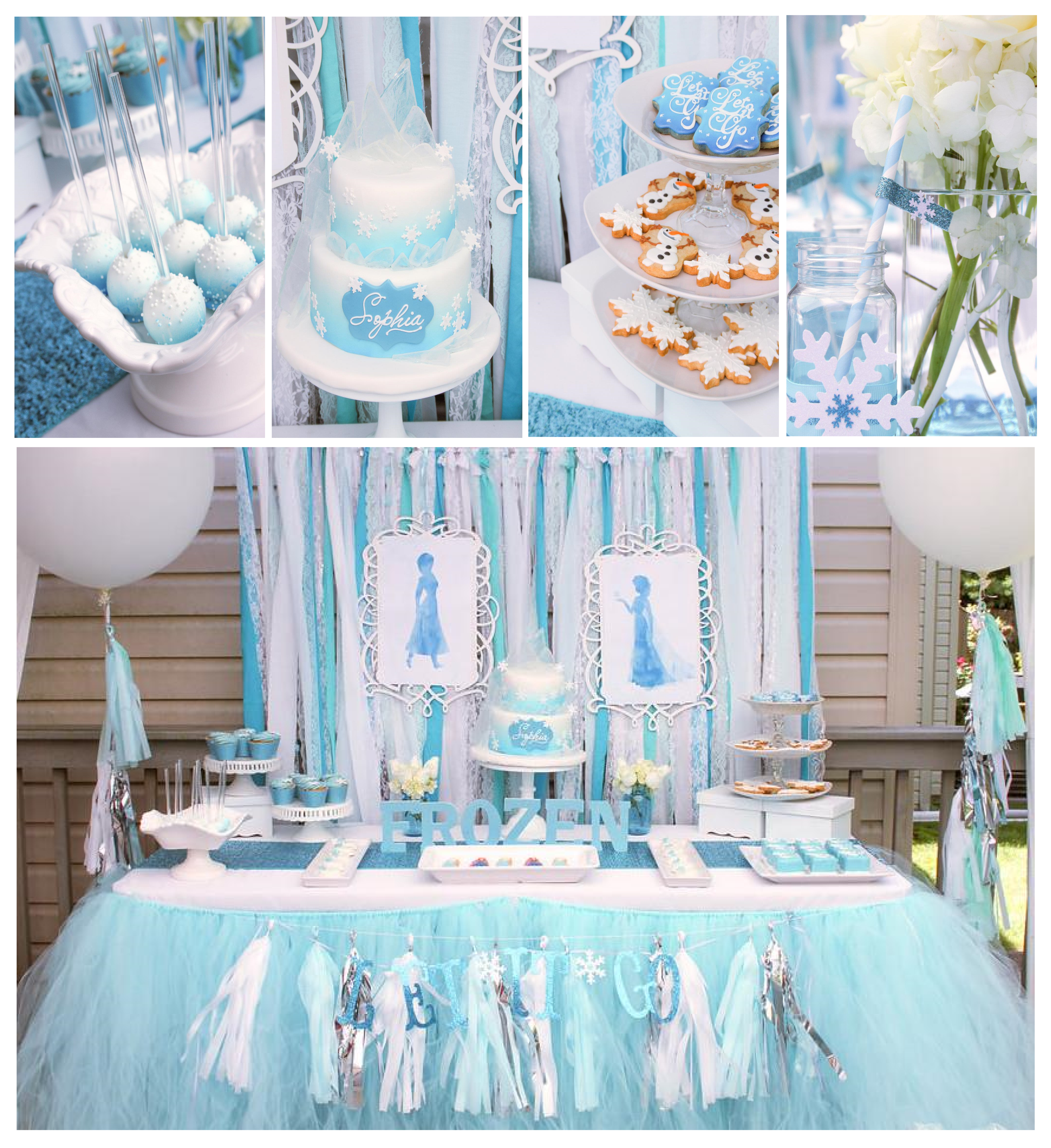 frozen party dessert table and frozen cake