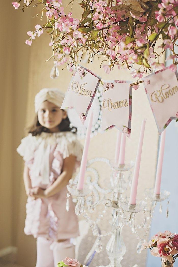pink garden party candelabra