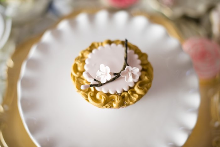 pink garden party cupcake topper