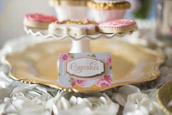 pink garden party cupcakes