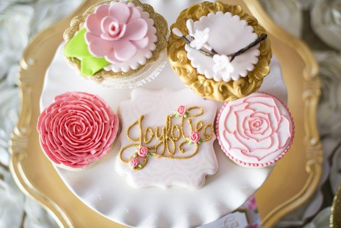 pink garden party desserts