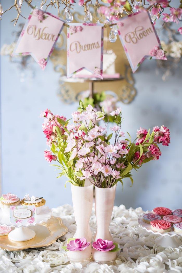 pink garden party centerpiece