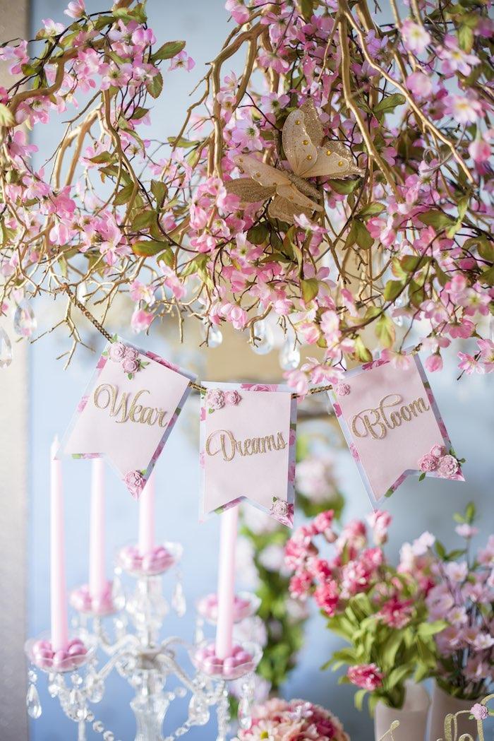 pink garden party banner
