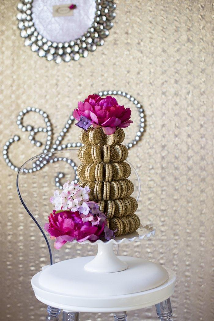 pink garden party macaron tower